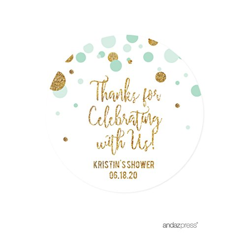 Andaz Press Mint Green Gold Glitter Boy Baby Shower Party Collection, Personalized Round Circle Label Stickers, Thank You for Celebrating With Us, 40-Pack, Custom Name (Baby Shower Personalized Stickers compare prices)