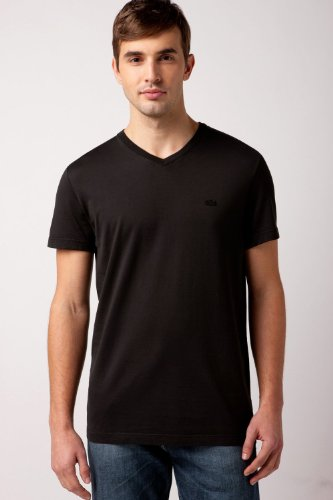 Lacoste Short Sleeve Garment Dyed V-neck T-shirt : Black (Size M/EUR 5)