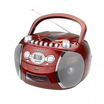 Supersonic SC-712 Portable Boombox with CD, Cassette & Recorder and AM/FM radio AC/DC/Battery Operated (RED)
