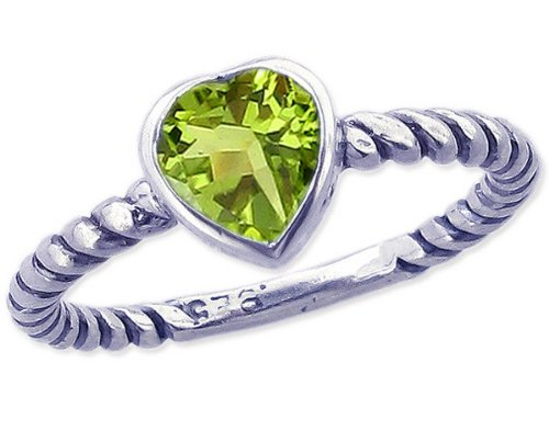 Twisted Sterling Silver Stackable Ring with Sweet Heart Genuine Stone-Peridot-in full,half,quarter sizes from 3.5 to 12_6.75