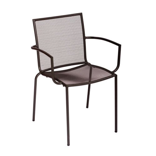 Bfm Seating Abri Dv548A Wrought Iron Outdoor Stackable Mesh Chair With Arms - Anthracite Finish