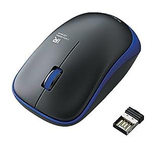 ELECOM ワイヤレスマウス IRLED 静音マウス 3ボタン 省電力 ブルー M-IR06DRSBU