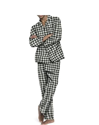 Hanes Men's Flannel Pajama Set, Black Plaid, XX-Large
