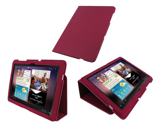 rooCASE Ultra Slim (Magenta) Leather Case Cover with Stand for Samsung GALAXY Tab 10.1 Wi-Fi (NOT Compatible with Verizon 4G LTE)