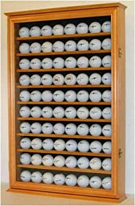 80 Golf Ball Display Case Cabinet Holder, novelty gift, OAK FINISH (GB80-OA) by NULL