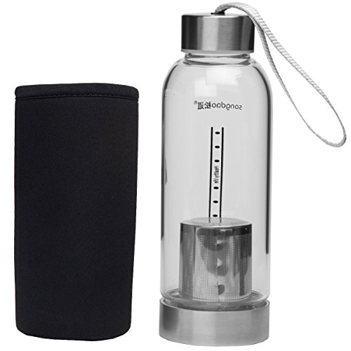 Le Juvo 12 Oz Glass Bottle With Soft Cover Sleeve And Metal Lid- Black