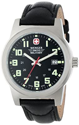 Wenger Swiss Military Men's 72925 Classic Field Black Dial Black Leather Strap Military Watch