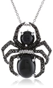 Sterling Silver Onyx with Genuine White and Black Diamonds Spider Pendant Necklace, 18