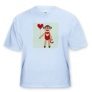 Sock Monkey With Heart Balloon - Adorable Animal Art - Adult Light-Blue-T-Shirt Small