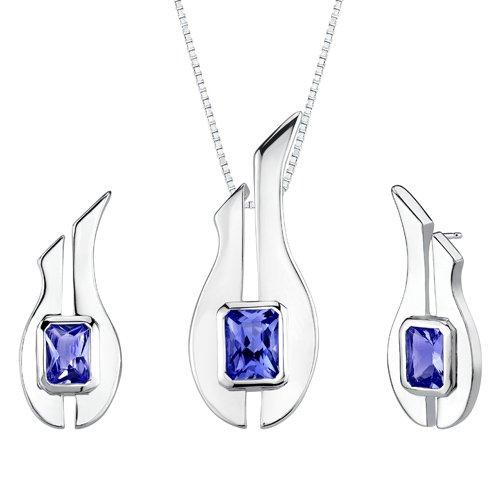 Revoni Radiant Cut Sapphire Pendant Earrings Set in Sterling Silver