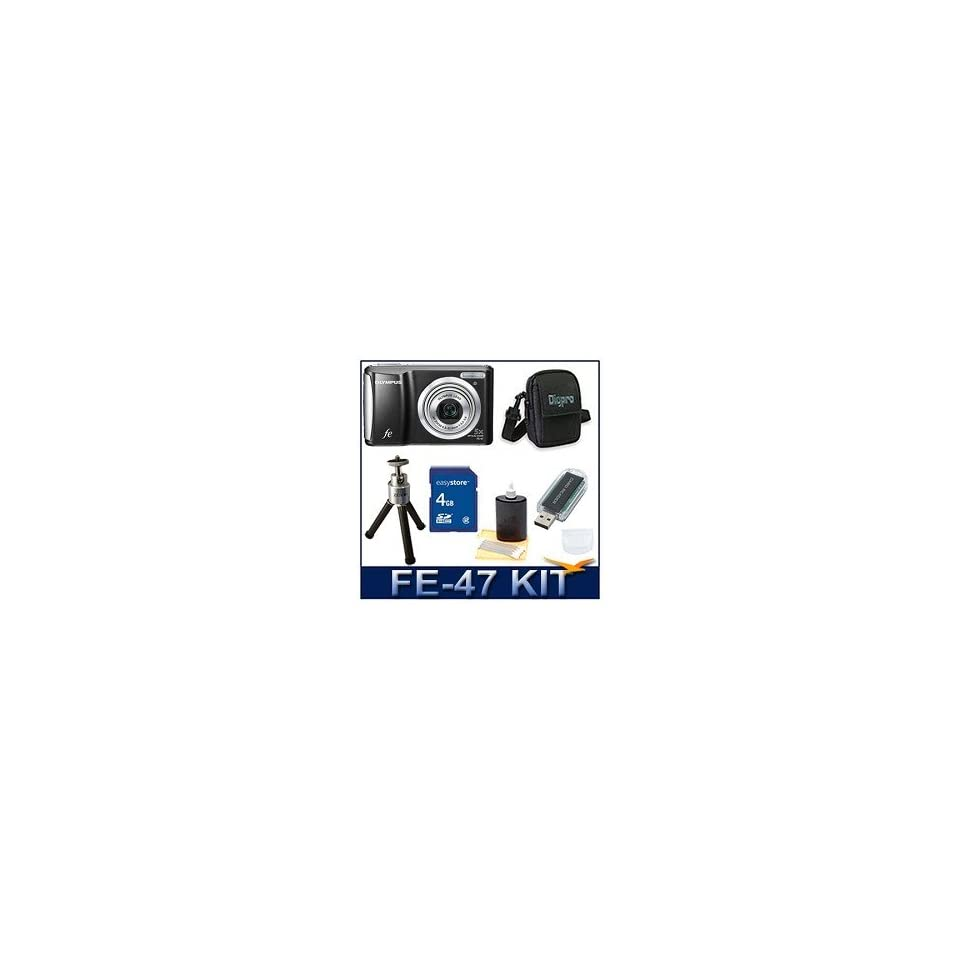 Olympus FE 47 Digital Camera (Black), 14 Megapixels, 5x Optical Zoom, 2.7 LCD Monitor, Deluxe Carrying Case, 4 GB Memory Card, Card Reader, Tripod, and Lens Cleaning Kit