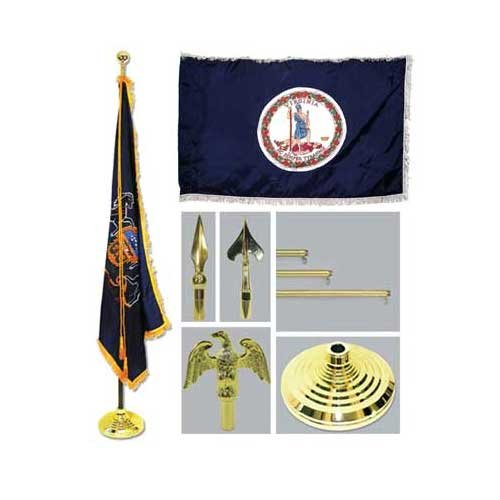 Virginia 4Ft X 6Ft Flag Telescoping Flagpole Base And Tassel