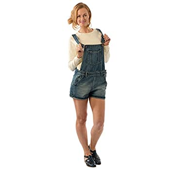 USKEES ANNA Relaxed Fit Vintage Wash Denim Bib Overall Shorts shortalls overall