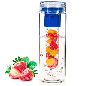 Infuser Water Bottle - 28 ounce - Made with Commercial Grade Tritan - PLUS Recipe Ebook INCLUDED