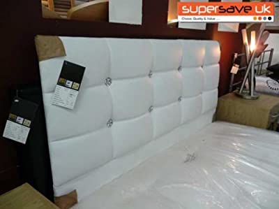 """funkybuys® Faux Leather White Crystal Diamante Double Bed 4ft6"""" Standard Size Headboard Only (White)"""