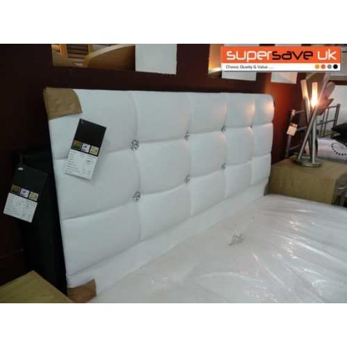 funkybuys® Faux Leather White Crystal Diamante Double Bed 4ft6