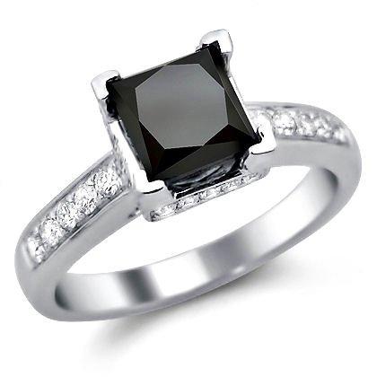 1.90Ct Black Princess Cut Diamond Engagement Ring 14K White Gold