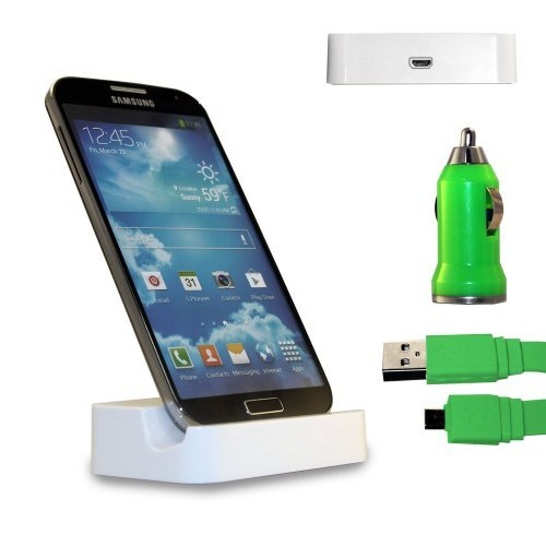 Shelfone 3 In 1 Bundle Premium High Quality White Charging Dock Desktop Stand Docking Station Includes Coloured Includes Flat Micro Usb Data Cable & Universal Bullet Car Charger For Various Samsung Mobile Series Samsung Galaxy S2 I9100 Green