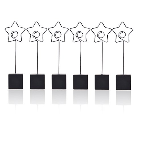 M-Aimee 6 Pcs Cube Base Memo Clips Holder with Heart-shaped Clip Clasp for Displaying Photos Number Cards (Star Clip) (Weddingtable Numbers compare prices)