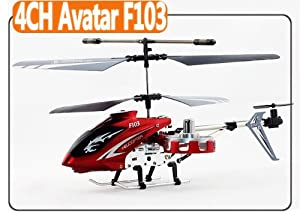F103 Avatar 4ch Gyro LED Mini Rc Helicopter Metal Red