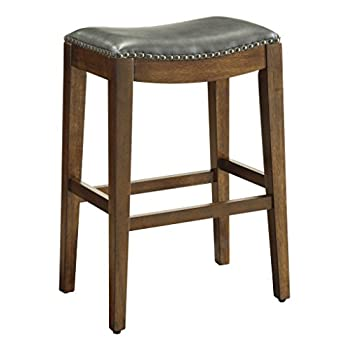 Office Star Metro Bonded Leather Bar-Height Saddle Stool with Nail Head Accents and Espresso Finished Legs, 29-Inch, Pewter