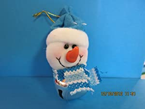 Christmas Snowman Plush Bell Ornament