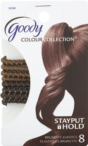 Goody Colour Collection Sparkly Metallic Elastic, Stay Put Hold, Brunette, 8 Count (Pack of 3)