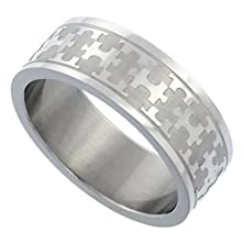 buy Surgical Steel 8Mm Autism Awareness Jigsaw Puzzle Wedding Band Ring, Size 10.5
