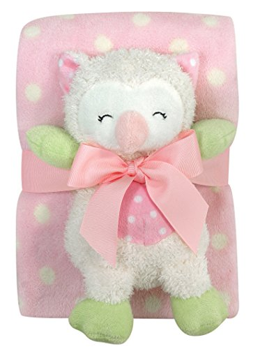 Stephan Baby Sleepy Owl Polka Dot Plush Blanket and 9-inch Plush Owl Gift Set, Pink and White