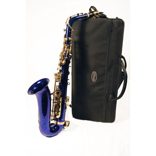 Barcelona Eb Alto Saxophone with Case, Reeds, Cleaning Rod, Polishing Cloth, Gloves, and Cork Wax - Blue