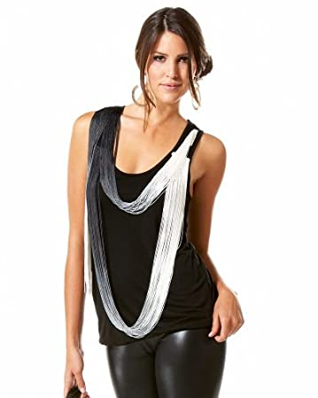  Draped Fringe Tank :  chic fashion black top
