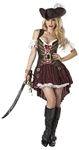 California Costumes Sexy Swashbuckler Pirate Adult Costume (Small, Red)