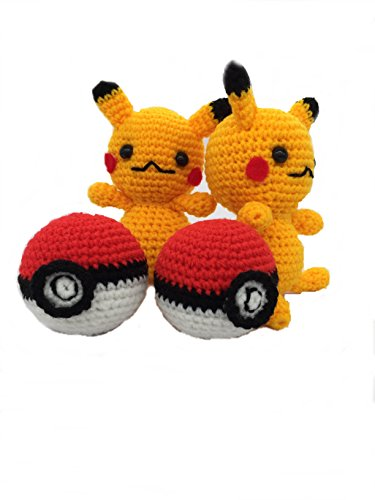 [2 Pokemon Pikachu HANDMADE CROCHET Plush Stuffed Animal Doll Toy 14cm , 2 Poke Ball Crochet Pokemon go] (Slowpoke Costume)