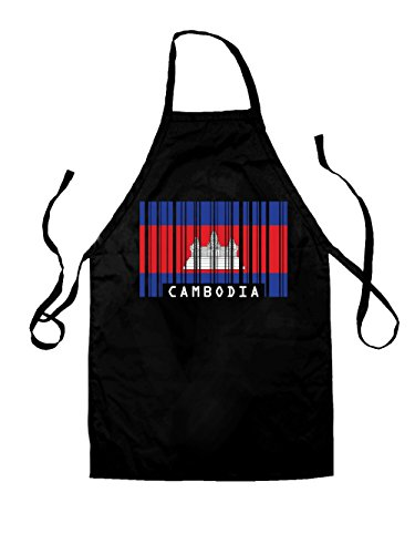 Dressdown Cambodia Barcode Style Flag - Unisex Adult Fit Apron - Black (Cambodian Bbq compare prices)