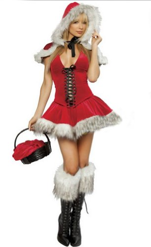 Black Temptation Women's Red Riding Hood Christmas Costume Fancy Dress(198)