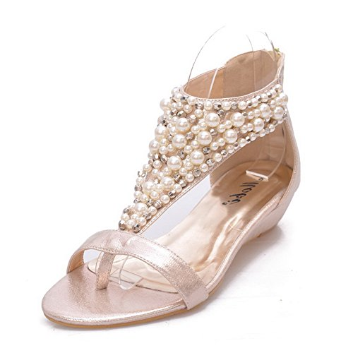 Vogue001 Womens Open Toe Low Heel Wedge Pu Soft Material Solid Split-Toe Sandals With Bead, Gold, 35 front-311390