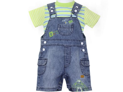 Baby Boys Stonewash Denim Dungarees Shorts & Lime/Blue Striped T Shirt Top Set - 12-18 Months