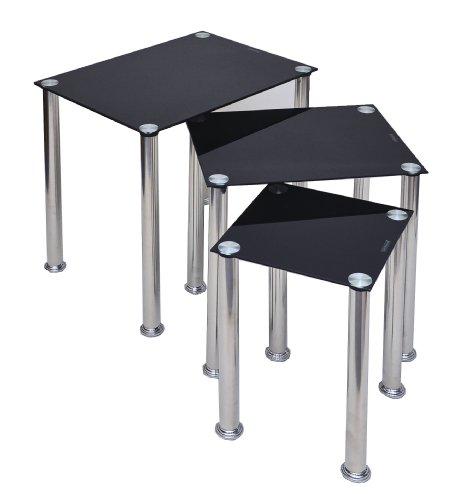 3er-Set-Glastisch-Beistelltisch-Ecktisch-Couchtisch-Schwarz-mit-Edelstahl-in-3-Gren-30-cm-45-cm-55-cm-Breite