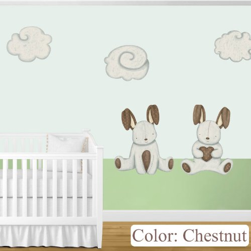 My Wonderful Walls Baby Nursery Wall Decor Bunny Rabbits and Cloud Wall Stickers, Chestnut