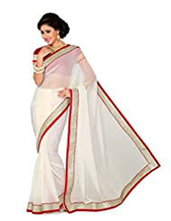 De Marca Off White Art Silk Designer G-341 Saree