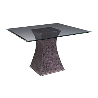 """Bailey Street 5001200 Diablo - 48"""" Table Set, Faux Crocodile Finish with Bevelled Glass"""