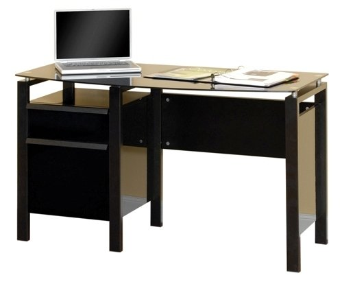 Lake Point 48 In. Contoured Computer Desk In Black Finish