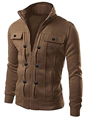 Azbro Men's Highneck Zip Up Casual Jacket & Outcoat