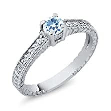 buy 0.45 Ct Sky Blue Topaz White Created Sapphire 14K White Gold Engagement Ring