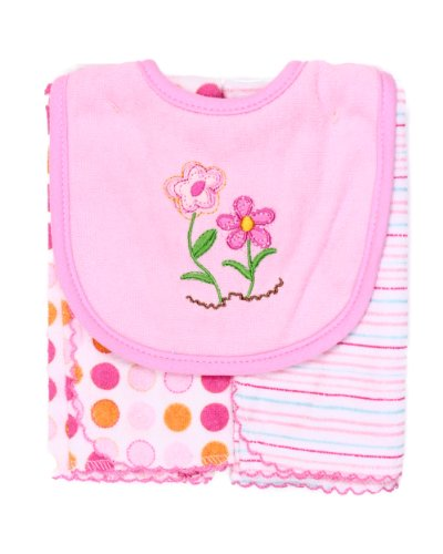 Spasilk Baby-Girls Newborn Set Of Bib and Two Burpcloths - 1