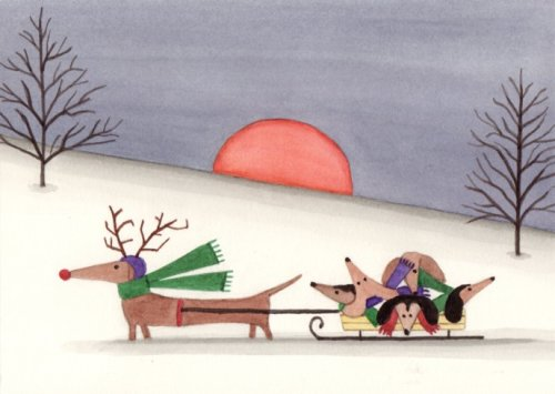 12 Christmas cards: Dachshund family sled ride