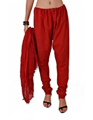 Stylenmart Women's Red Churidar Pant Dupatta Set