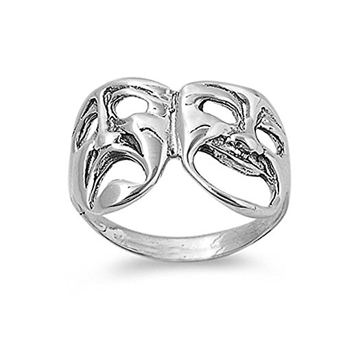 Sterling Silver Smile Now Cry Later Theater Ring - size 6 (Smile Now Cry Later Ring compare prices)