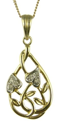 9ct Yellow Gold Ladies' Celtic Diamond Set Leaf and Interlacing Stem Pendant with 46cm Curb Chain
