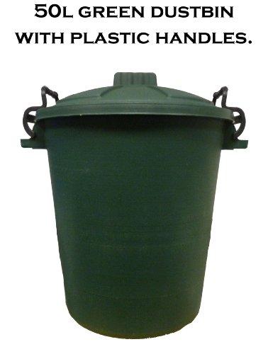 50L PLASTIC HANDLE GREEN Garden Storage Dustbin Bin 50 Litre Refuse HEAVY DUTY